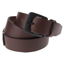 FLATSEVEN Mens Designer Genuine Leather Belt (Y401) Mixed Color, Brown