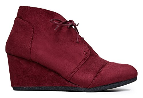 City Classified Rex Womens Wedges Burgandy 6 (Burgandy Shoes)