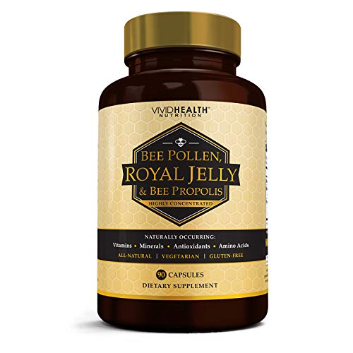 High Potency Royal Jelly and Bee Pollen with Bee Propolis | All-Natural, Pure Superfood & Brain Fuel with Antioxidant Support for Weight Loss & Energy | Restore Damaged Skin - 90 Vegetarian Capsules