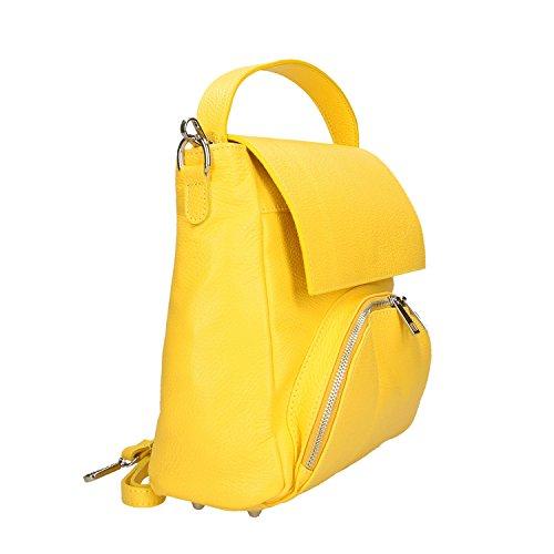 Genuina Bolso Borse 27x27x8 Mujer En Piel Cm Fabricado Italia Chicca Amarillo Xgxwqx
