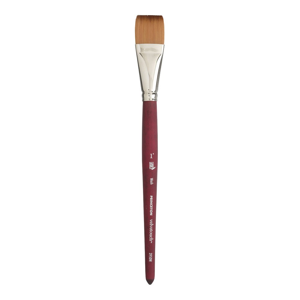 Princeton Velvetouch Artiste, Mixed-Media Brush for Acrylic, Watercolor & Oil, Series 3950 Wash Luxury Synthetic, Size 1 inch by Princeton Artist Brush