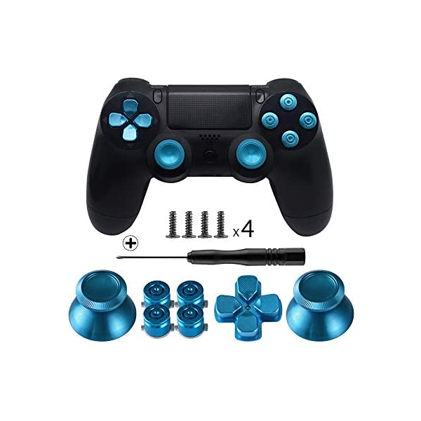 TOMSIN Metal Buttons for DualShock 4, Aluminum Metal Thumbsticks Analog Grip & Bullet Buttons & D-pad for PS4 Controller (Blue) 1