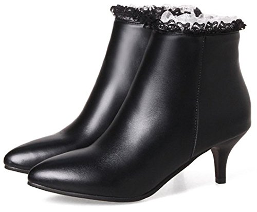 Sweet Side Heel Ankle Stiletto Women's Black Easemax High Short Mid With Pointy Toe Boots Zipper Bq5qw7Y