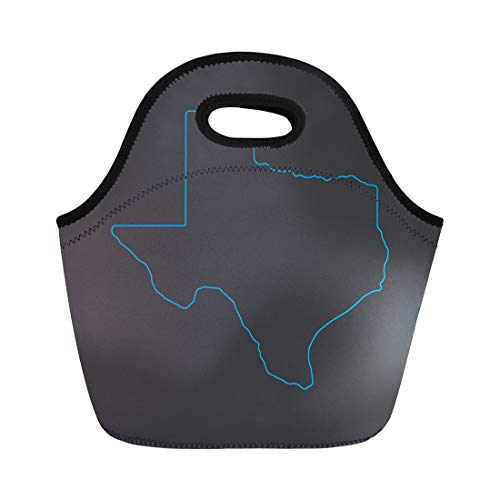 Semtomn Lunch Tote Bag State Texas Map Blue Outline Stroke Line Dallas Abstract Reusable Neoprene Insulated Thermal Outdoor Picnic Lunchbox for Men Women