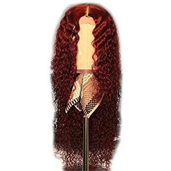 Image of Unextar Glueless Burgundy Full Lace Front Human Hair Wig with Baby Hair Preplucked Natural hairline Curly 99J Red Brazilian Remy Hair Wig For Women (14inch150% density, Full Lace Wig) Health and Household