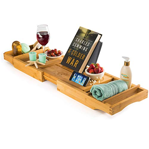 Luxury Bamboo Bathtub Caddy Tray - Adjustable Tub Table Bath Reading Tray with Wine Glass and Book Holder | Great Gift Idea (Renewed)