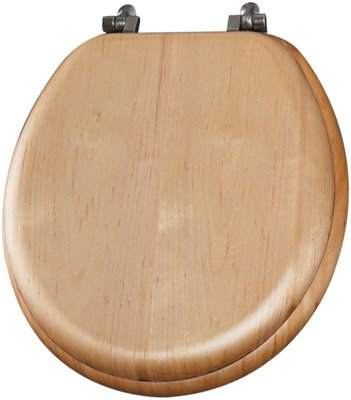 Mayfair 19601BR 378 Natural Reflections Wood Veneer Toilet Seat with Brass Hinges