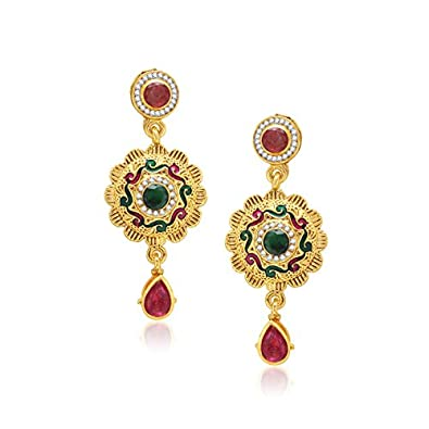 V. K. Jewels Metal Dangle & Drop Earring For Women Golden - vkerz1063g Earrings at amazon