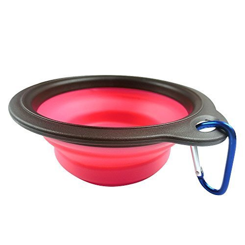 Pet Bowl - Retractable Travel Portable Water Bottle/Dish Pet Silicone Foldable Bowl with a Metal Carabiner, Also Can Used as Flying Disc Toy for Dogs & Cats, Pink