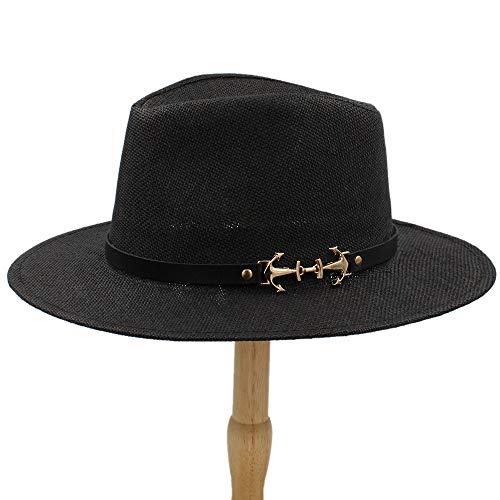 MUMUWU Men's Plain Color Panama Straw Hats Fedora Soft Vogue Stingy Brim Caps 6 Colors Choose 58 cm (Color : Black, Size : 56-58cm)