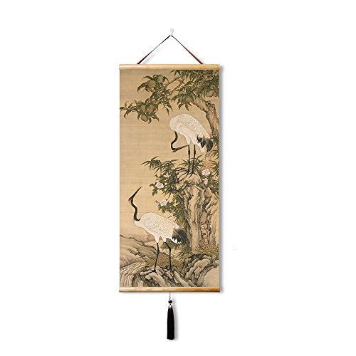 EAPEY Office Decorative Painting, Silk Chinese Painting, White Crane and Peach,As a art gifts to the elders, relatives, friends. (45X100CM)