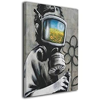Flower Gas Mask Boy Spray Painting On The Wall Banksy Graffiti Picture On Canvas Home Decor Painting for Living Room Bedroom Wall Decorative Stretched and Framed Ready to Hang 16x20 inches