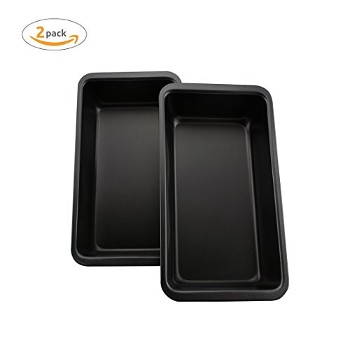 Loaf Pan,AOGVNA Ideal For Bread Baking Made of Non-Stick Black Steel For Home Kitchen and Catering Bread Pan 9.5x5 Inch 2pcs Bakeware Set For Banana Bread Baking ,Meatloaf, Pound Cake