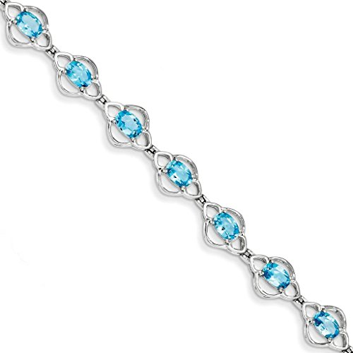 925 Sterling Silver Rhodium-plated Polished Oval Swiss Blue Topaz Open Link Tennis Bracelet 7""