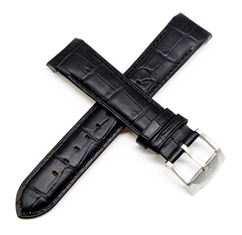 Ben & Sons 22MM Alligator Grain Genuine Leather Watch Strap 9 Inches Black with Silver Buckle Fits West Side (Ben And Sons Mens Watch)