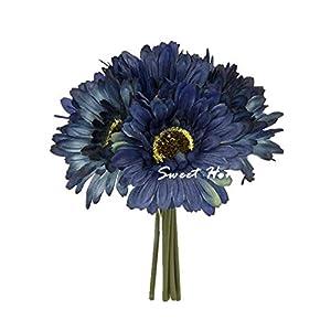 Sweet Home Deco 8'' Silk Artificial Gerbera Daisy Flower Bunch (W/ 7stems, 7 Flower Heads) Home/Wedding 3