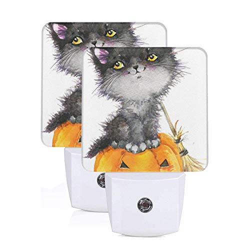 Aoccy Halloween Holiday Little Cat Witch and Pumpkin Personalized 2 Pack Plug-in Night Light Soft White Light Suitable for Children's Adult Room, Hallway -