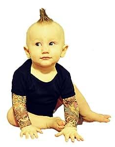 Wild Rose Salvation Tattoo Sleeve Baby One-Piece Shirt, Black, Small