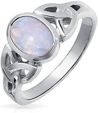 Bling Jewelry 925 Silver Celtic Triquetra Simulated Moonstone Knot Ring