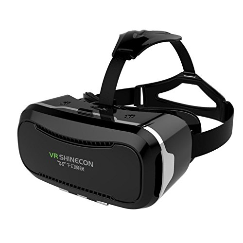 Shinecon 2.0 VR 3D Headset Iphone Virtual Reality Glasses Suitable for Google, iPhone, Samsung Note, LG, Huawei, HTC Smartphone for 3D Movies and Games Supportded 4-5.5 Inches Screen