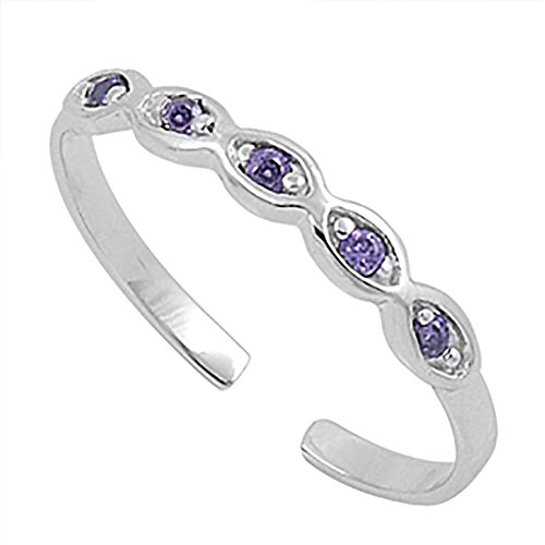 2mm half eternity toe ring round Simulated Purple Amethyst 925 sterling silver toe ring