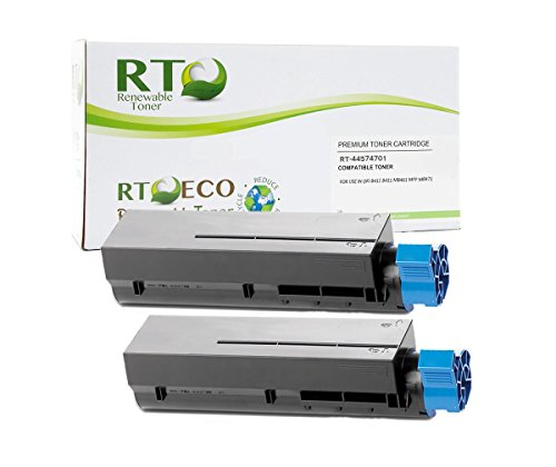 Renewable Toner B411 Compatible Toner Cartridge Okidata 44574701 for Oki B411 B431 MB461 MB471 Printer Series (Black, 2-Pack)