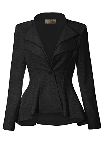 (Women Double Notch Lapel Office Blazer JK43864 1073T Charcoal)