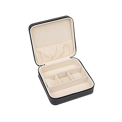 HooAMI Black Leather Small Travel Jewelry Box Organizer Display Storage Case for Rings Earrings Necklace from HooAMI