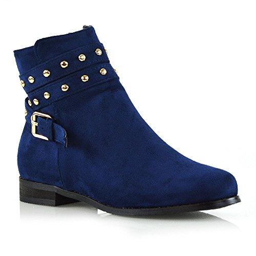 Borchie Donna Fasce Caviglia Tacco Pixie Stivaletto Nuovo Azzurro Piatto Glam Essex Zip Chelsea Alla Scamosciato Finto wX08aaWq