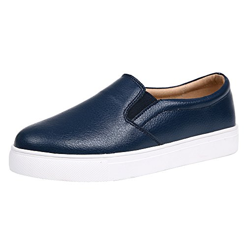 Sunrolan Dames Lederen Mode Sneakers Comfort Platform Flats Instapper Loafers Schoenen Blauw