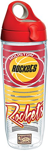 Bottle Water Houston (Tervis 1268933 NBA Houston Rockets Old School Tumbler with Wrap and Red with Gray Lid 24oz Water Bottle, Clear)