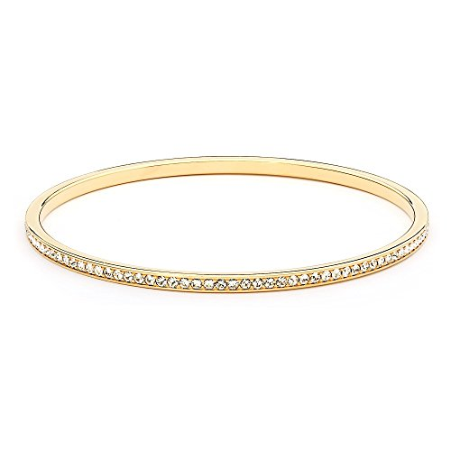- MYJS Ready 16k Gold Plated Magic Bangle Bracelet with Clear Swarovski Crystals