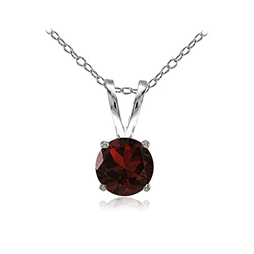 Ice Gems Sterling Silver Garnet 7mm Round Solitaire Necklace