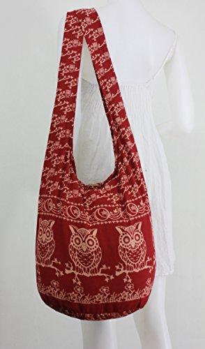 Owl Shoulder Sling Cross Boho NaLuck Messenger Hippie Vintage Red Large Bag body 706qdq
