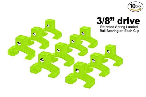 Olsa Tools Green Spring-Loaded Ball Bearing Socket Clips for Use with Olsa Socket Holder Rails | 10-Pack (Ball And Socket)