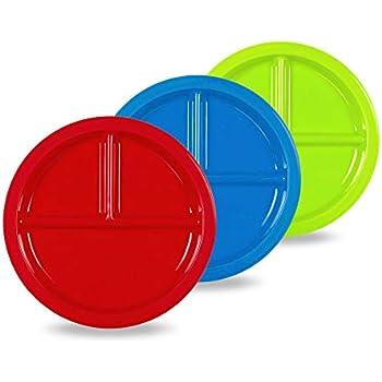 Amazon.com | Plaskidy Plastic Divided Plates for Kids