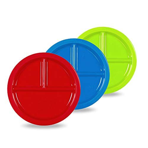 Plaskidy Plastic Divided Plates for Kids - Set of 3 Kids Plates with Dividers in Fun Bright Colors - Toddler Compartment Plates Reusable Dishwasher/Microwave Safe BPA Free for Kids & Toddlers ()