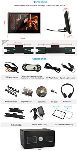 NAVISKAUTO 10.1 Inch Headrest DVD Player HD 1080P LCD Screen Headrest Monitor Backseat CD/USB Player with HDMI Port and Remote and Cigar Lighter Charger and Wall Charger and Headphone(CH1003B+Y0101S) by NaviSkauto (Image #6)