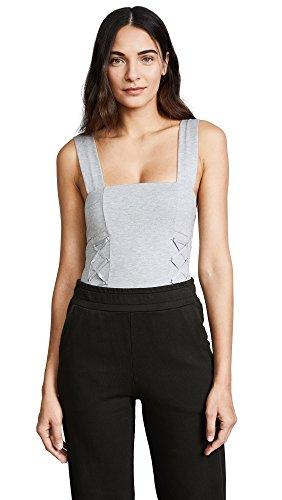 KENDALL + KYLIE Women's Knit Grey Thong Bodysuit, Grey Rib, (Designer Knit Suit)
