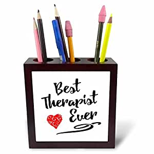 Russ Billington Designs - Words- Best Therapist Ever with Red Heart - 5 inch tile pen holder (ph_241097_1)