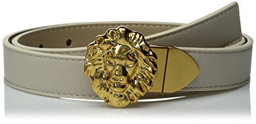 Ak Anne Klein Women's Anne Klein 25mm Reversible Belt With Lion Logo Buckle, Birch/Cobblestone, L (Anne Klein Leather Belt)