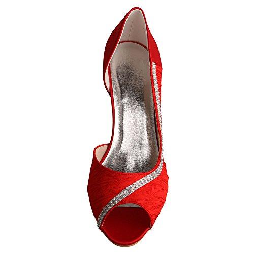 Wedopus Women D'orsay Peep Toe Pleated Satin Mid Heel Crystal Wedding Party Dress Shoes Red 80YAVbepm