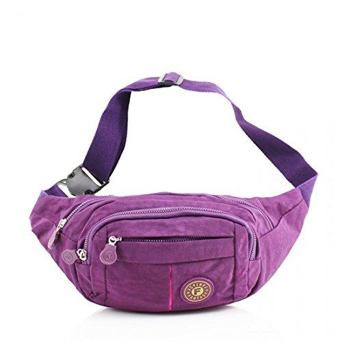 Unisex Waist Travel Belt Money Passport Wallet Pouch Ticket Bum Bag Fanny Pack Festival Purple