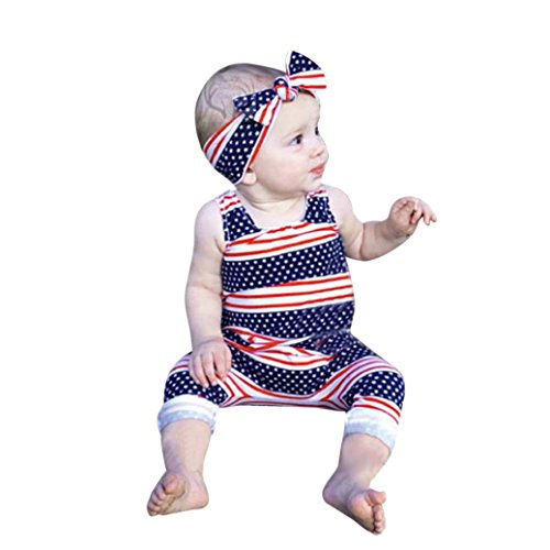 FEITONG 2018 Toddler Baby Boys Girls Stars Striped Rompers Jumpsuit + Headband 4th of July Outfits Set (Red, (Realistic Batman Suit)