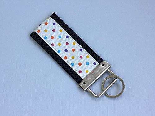 Keychain Polka Dot Blue Mini Key Fob Ribbon