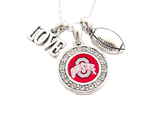 Ohio State Buckeyes Multi Charm Love Football Red Silver Necklace Jewelry (Love Football Charm)