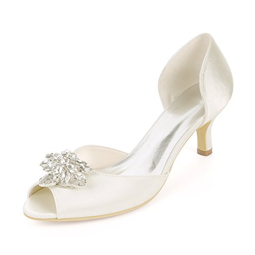 Flower-Ager Y1195-03K Mujeres Peep Toe Sandalias Piedras De Diamantes De Imitación Bombas Talones Medio Satén Wedding Party Court Shoes,Ivory,UK3/EU36