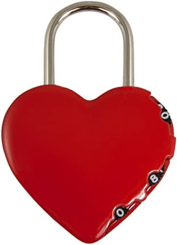 Stanley 81200 3-Digit Heart-Shaped Padlock - Red