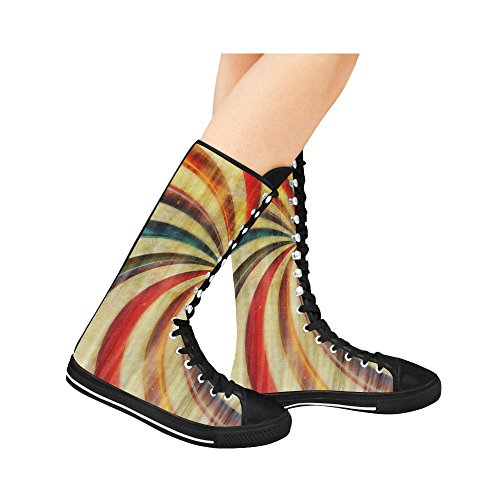 ... Leinterest Abstrakt Rainbow Lerret Lange Støvletter For Kvinner ...