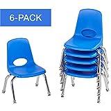 "ECR4Kids 10"" School Stack Chair, Chrome Legs with Nylon Swivel Glides, Blue (6-Pack)"